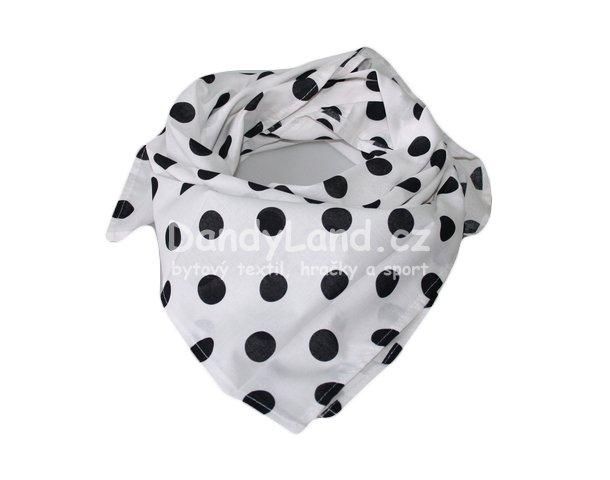 5148ad05411 Bavlněný šátek bílý - černý puntík 2 cm