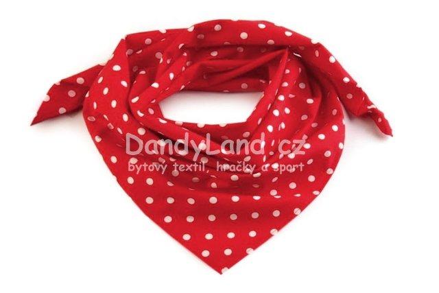 Bavlněný šátek červený - bílý puntík 5 mm a85dcae7a3