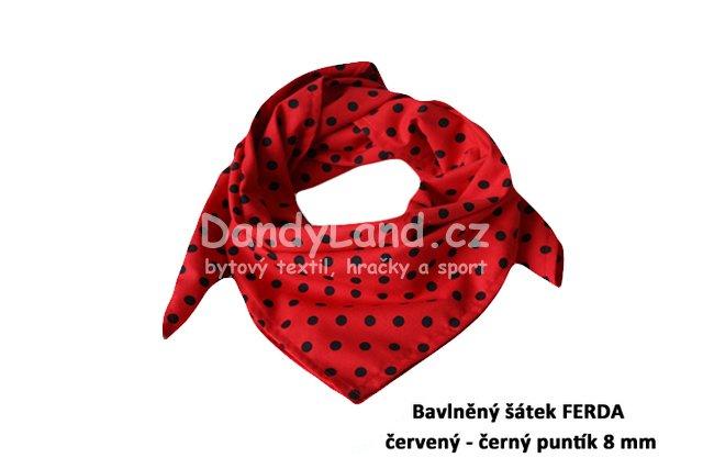 49ef484c1cf Bavlněný šátek FERDA červený - černý puntík 8 mm