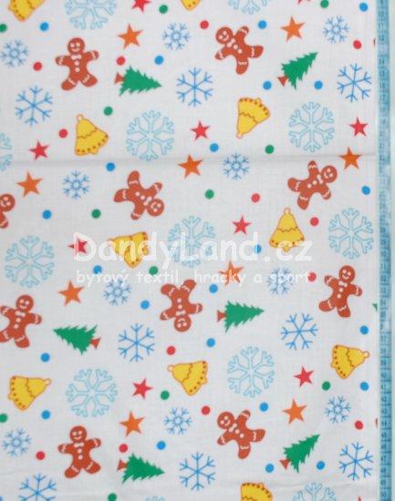 METRÁŽ bavlna vánoční šíře 160 cm - Perníčky na bílé b6fa3e5e6ea